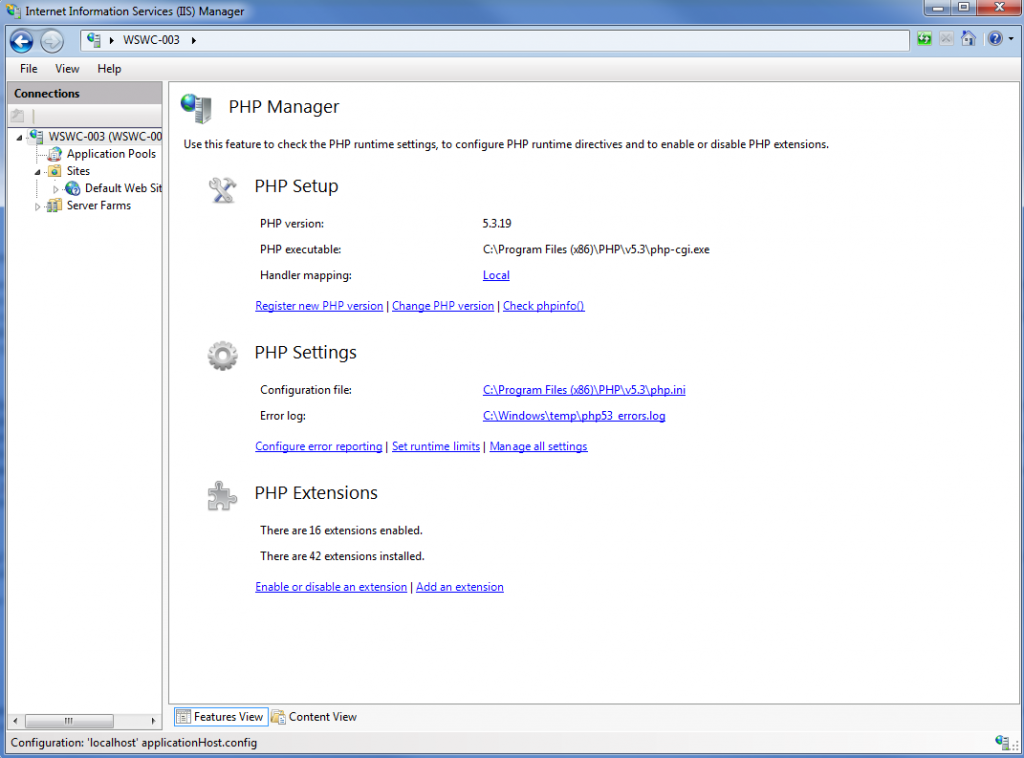 PHP Manager Screenshot